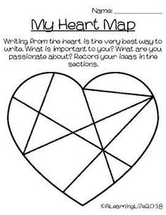 Writer's Heart Map Activity – Alli – art therapy activities Self Esteem Activities, Map Activities, Valentine Activities, Counseling Activities, Art Therapy Activities, Back To School Activities, Emotions Activities, Play Therapy, Heart Map Writing