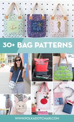 More than 30 Bag sewing patterns. From beginner tote bags to cute bags for kids. Most of the patterns are free. More than 30 of my favorite bag sewing patterns most of them are free patterns. So many cute and simple bags to sew. Sewing Blogs, Easy Sewing Projects, Sewing Projects For Beginners, Sewing Hacks, Sewing Tutorials, Sewing Tips, Sewing Crafts, Messenger Bag Patterns, Bag Patterns To Sew