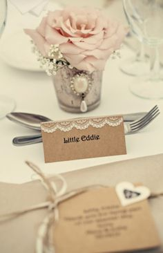 Burlap lace and rose place setting.  A pretty pink vintage wedding by Dottie Photography