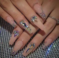 32 super cute nail art ideas for long nails in 2019 00133 com is part of nails - nails Bling Acrylic Nails, Best Acrylic Nails, Rhinestone Nails, Bling Nails, Bling Nail Art, Bling Wedding Nails, Coffin Nails, Gem Nails, Diamond Nails