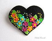 Felt Flower Heart Pin / Brooch