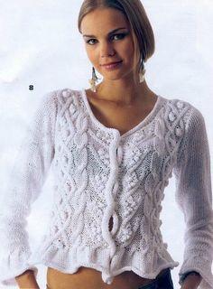 Tricot Pull femme : je vous présente ce gilet superbe, il est réalisé au tricot avec des torsades et des nopes, vous trouverez toutes les explications