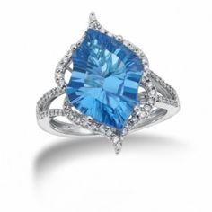 Sterling Silver, Diamond and Blue Topaz Gemstone ring