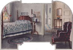 Armstrong Cork Co., at least in some part, owes its successful marketing of linoleum floors to its interior designers who produced a wonderful collection of illustrations during the 1920s.  Source: Ladies Home Journal Image from the 1920s bedroom gallery at American Home & Style.