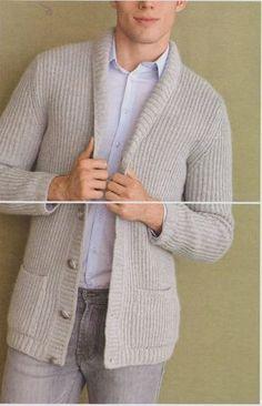 Мужской жакет резинкой из пряжи серого цвета Giacca grigia с описанием вязания. Мужской жакет вязаный жемчужной резинкой с шалевым воротником и накладными карманами.