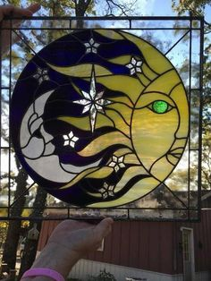 Handmade Stained Glass Sun and Moon Panel - Cool Glass Art Designs Faux Stained Glass, Stained Glass Lamps, Stained Glass Designs, Stained Glass Panels, Stained Glass Projects, Stained Glass Patterns, Mosaic Patterns, Broderie Bargello, L'art Du Vitrail