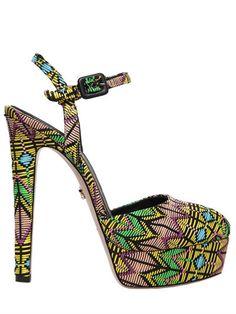 LE SILLA 150Mm Platform Sandals W/ Woven Pattern, Black/Multi. #lesilla #shoes #sandals