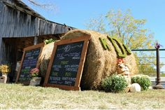 Rustic Fall Wedding with Creative DIY Ideas-  Article to spruce up outdoor potty  hay bail seating idea