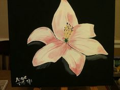 12 x 12 white flower painting in acrylic on by Cajungirlcrafts, $8.00