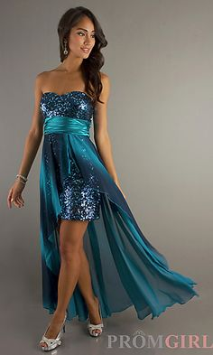 Sequin Strapless High Low Dress at PromGirl.com