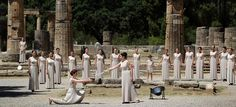 The bowl to carry the Olympic flame to London is lit in the ceremony at the Temple of Hera in Greece. Site of the Ancient Olympic Games.