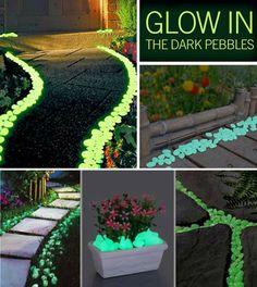 DIY #home #garden #glowinthedark #rocks #pathway