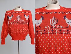 1940s Cactus & Roosters Ski Sweater Jacquard Knit Rockabilly Sweater