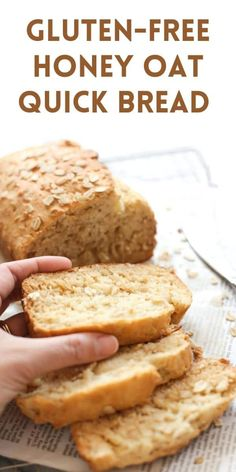 A moist, gluten-free quick bread made with oats and honey. Delicious on its own, or spread with butter and jam.   dishbydish.net #glutenfreehoneyoatbread #glutenfreebreadrecipes Gluten Free Quick Bread, Gluten Free Oats, Gluten Free Cooking, Gluten Free Desserts, Dairy Free Recipes, Wheat Free Bread, Gluten Free Biscuits, Easy Quick Bread Recipe, Gluten Free Bread Recipe For Bread Machine