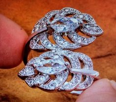 Crystal And CZ Leaf Ring