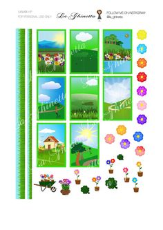 printable FLOWER sticker mix #1 -Digital File Instant Download - planner girl, Mambi, happy planner, Green, Flower, landscape di LaGhinetta su Etsy