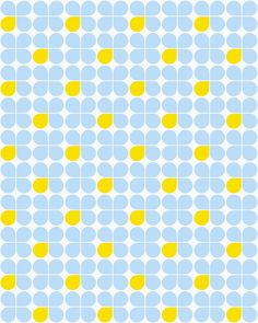 This pattern looks like a four-petal flower that is constantly being repeated. Every other petal from the flower will be like a yellow color which seems to unify them and may the eye wonder.