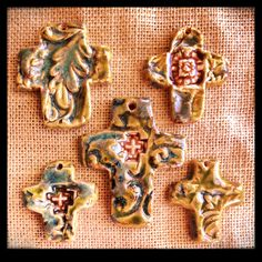 Green Pottery Cross Pendants