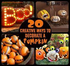 http://www.sixsistersstuff.com/2012/10/20-creative-ways-to-decorate-pumpkins.html