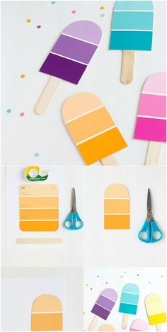 DIY Paint Chip Popsicle Party Invitations - maybe in the shape of a little house. Marshall Hane - DIY Paint Chip Popsicle Party Invitations – maybe in the shape of a little house for a housewarmi - Art Projects For Adults, Diy Crafts For Adults, Diy Art Projects, Diy For Teens, Crafts To Sell, Adult Crafts, Kids Crafts, Backyard Party Games, Popsicle Party