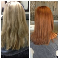 Before and after! Blonde to red!