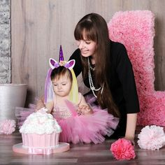 Anime Costumes Sweet-Tempered Birthday Theme Party Cosplay Girls Printing Rainbow Flowers Tutu Dresses With Headband Horn Flower Hair Hoop Set For Kids Shrink-Proof