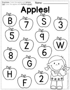 FREEBIE! Color the letters one color. Color the numbers a different color. Perfect for back to school.