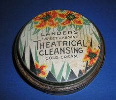 """Vintage Landers Theatrical Cleansing Cold Cream Tin Advertising 3 1 2"""" 1930s 