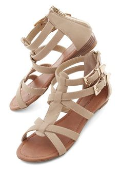 Hop, Trip, and a Jump Sandal. Take these taupe, strappy sandals with you on your next adventure! #tanNaN