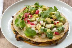 Mushroom & Poblano Pepper Quesadillas with Monterey Jack Cheese & Avocado-Radish Salsa