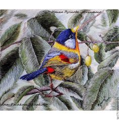 """Buy Embroidered picture """"Bird, Liotrix"""", art surface - green, artistic surface, embroidery"""