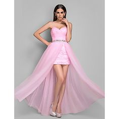 Sheath/Column Sweetheart Tulle And Lace Evening/Prom Dress(612417)  – USD $ 98.99