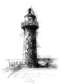 Whitby lighthouse, Artist Sean Briggs producing a sketch a day, prints available at https://www.etsy.com/uk/shop/SketchyLife  ##artist ##Etsyshophttp://etsy.me/1rARc0J#lighthouse ##illustration#ink#print#draw©#Sean_Briggs #art #drawing #sketch #Whitby