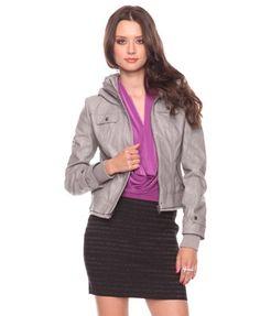 Leatherette Jacket w/Optional Hood - StyleSays
