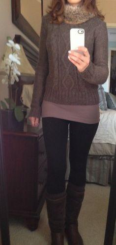 [Sweater: Target (similar)/Fur Collar: Target/Tank: Forever 21/Fleece Leggings: Ross (similar)/Wool Boot Socks: Marshall's (similar)/Boots: UGG (similar)]