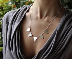 Sterling Silver Triangle Garland Necklace - Geometric Statement Necklace - Fine Quality Silver Chain