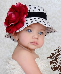 White & Black Polka Dot Flower Sunhat what a beautiful baby love the big blue eyes adorable Little Babies, Cute Babies, Little Girls, Baby Kids, Beautiful Children, Beautiful Babies, Beautiful Eyes, Little People, Little Ones