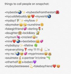 Noms Snapchat, Cute Snapchat Names, Snapchat Best Friends, Snapchat Nicknames, Nicknames For Friends, Cute Nicknames, Cute Names For Boyfriend, Love Text To Boyfriend, Instagram And Snapchat