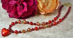 Agate & Arancio Gold Foil Heart Murano Necklace £52.95