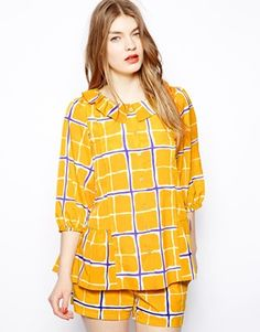 Love Moschino Shirt with Pierrot Collar in Check Print