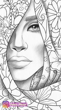Adult coloring page girl portrait and clothes colouring sheet floral pdf printable anti-stress relaxing zentangle line art - Outline Drawings, Pencil Art Drawings, Art Drawings Sketches, Cartoon Drawings, Colouring Pages, Coloring Sheets, Adult Coloring, Coloring Books, African Art Paintings