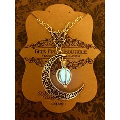 Sailor Moon Inspired Silver Crescent Moon with Glow In The Dark Caged... ($23) ❤ liked on Polyvore featuring jewelry, pendants, pendants & necklaces, steam punk jewelry, steampunk charms, silver charms and silver charm pendant