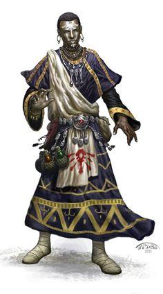 m Cleric tribesman gold colthing concept art barbarian Dark Fantasy, Fantasy Rpg, Medieval Fantasy, Fantasy World, Black Characters, Dnd Characters, Fantasy Characters, Character Portraits, Character Art