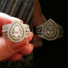 Neil Lane Pear Shape Double Halo engagement ring and wrap wedding band. It is crazy how similar my wedding ring set (on the right) is to this other women's. But I love it.