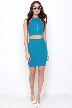 Up Two You Blue Two-Piece Dress at Lulus.com!