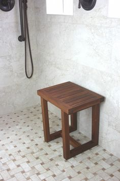 Mini Teak Corner Shower Bench With Shelf   Brookstone.com | For The Home |  Pinterest | Bathroom Ideas, Shower Benches And Master Bathroom