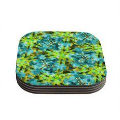 Kess InHouse Michael Sussna 'Pollenesia' Teal Green Coasters