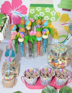 Fun treats at a luau birthday party!  See more party planning ideas at CatchMyParty.com!
