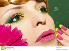makeup-nails-gerberas-beautiful-colorful-young-girl-green-background-close-up-35941000.jpg (1300×957)