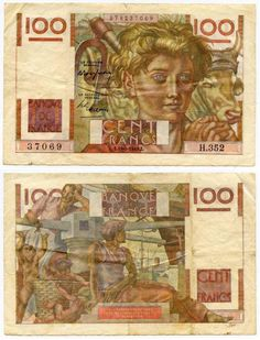 Description: A beautiful very fine banknote from France. This is the 19-5-1949 one hundred francs or Cent Francs. The banknote is brown and red with multicolored decorations. The front depicts a farme